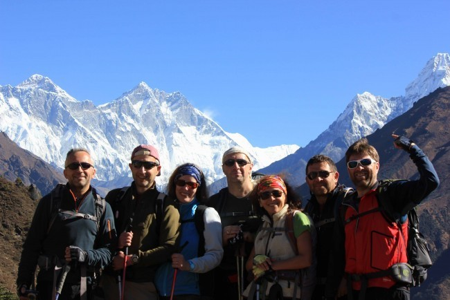 Andrey , Mark and Friend in happy mood at Tengboche , Everest